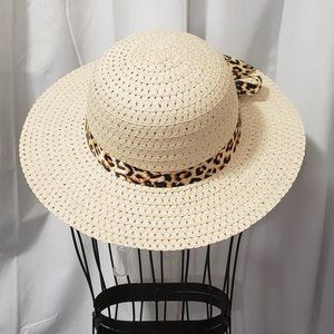 Fun Straw Sun Hat w/ Leopard Print Ribbon NWT